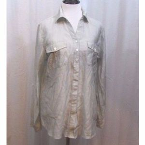 Chico's Green Semi Sheer Button Front Top 1 S